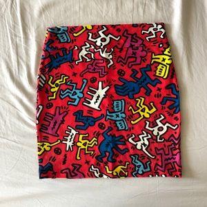 Keith Haring pencil short skirt
